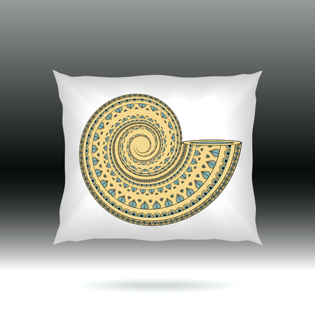 white pillow: White Pillow with style ornament shell  for design elements  or for decoration  interior or for sale in internet shop Illustration
