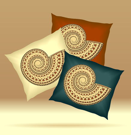 d       cor: Set Pillows with ornament shell yellow brown dark blue  colors for design elements  or for decoration  interior or for sale in internet shop