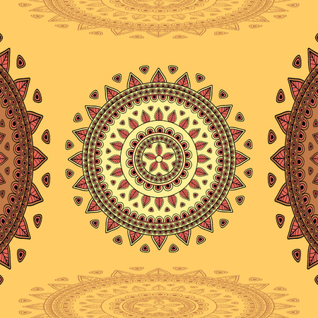 east indian: Circular ornament on beige Background for design elements  or for decoration  interior in east or in Indian or in Arabic style or for decorate different things Illustration