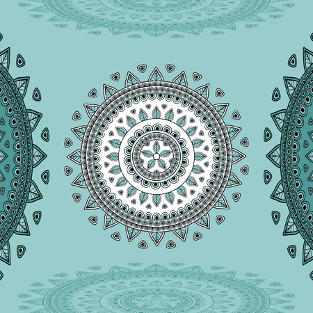 east indian: Circular ornament on marine blue Background for design elements  or for decoration  interior in east or in Indian or in Arabic style or for decorate different things