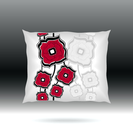 white pillow: White Pillow with abstract square flowers  for design elements  or for decoration  interior or for sale in internet shop Illustration