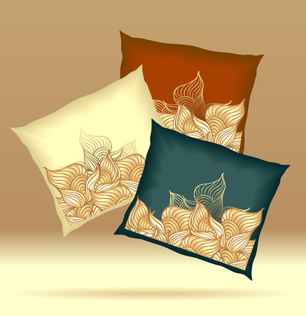 pillows: Set Pillows with abstract shells yellow brown dark blue  colors for design elements  or for decoration  interior or for sale in internet shop