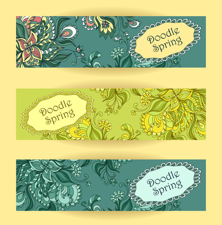 Set Doodle floral banners in blue marine green colors for advertising spring summer sale  or for advertising different  things Vector