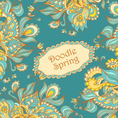 Doodle floral frame in marine blue orange yellow beige colors for advertising spring summer sale or  template  for different  things Vector