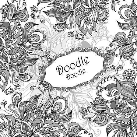 Doodle floral frame in grey white black  colors for advertising or  template  for different  things Vector