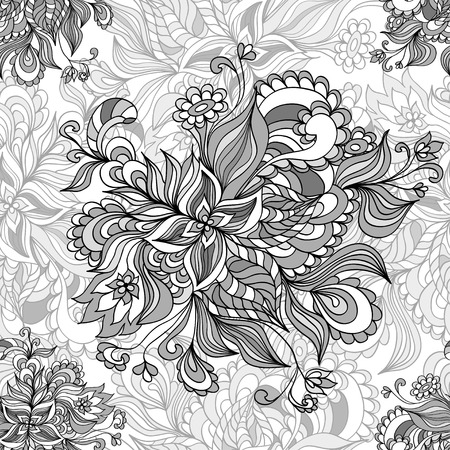 Seamless pattern  from doodle flowers  in grey white black  colors for advertising or  template  for different  things Vector