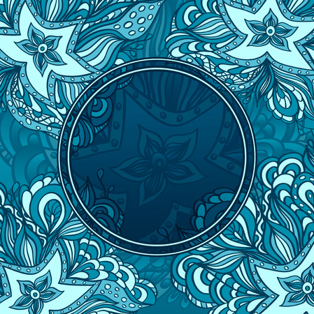 seaweeds: Background with doodle starfishes, seaweeds and porthole  or template for underwater world