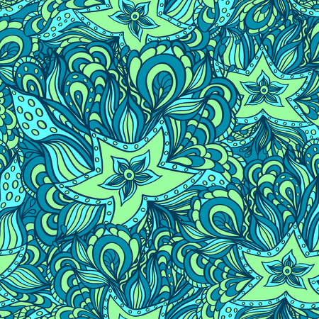 seaweeds: Seamless pattern with doodle starfishes and seaweeds in blue green or template for underwater world