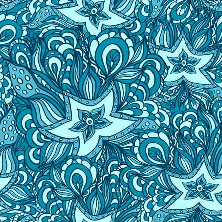seaweeds: Seamless pattern with doodle starfishes and seaweeds in blue or template for underwater world Illustration