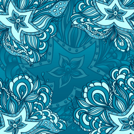 seaweeds: Background with doodle starfishes seaweeds or  template for underwater world Illustration