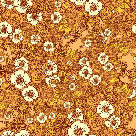Seamless pattern with doodle flowers in orange  for decorate different  things Vector
