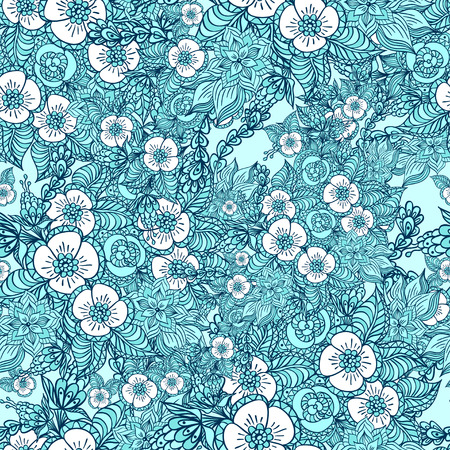 Seamless pattern with doodle spring flowers in blue for decorate different  things Vector