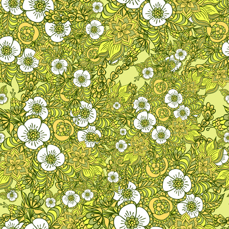 Seamless pattern with doodle spring flowers in green for decorate different  things Vector