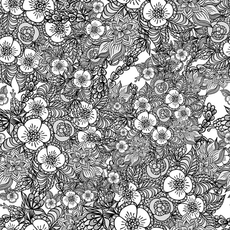 Seamless pattern with doodle spring flowers in grey for decorate different  things Vector