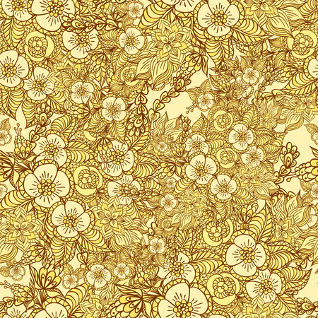 rn: Seamless pattern with doodle  flowers in gold for decorate different  things Illustration