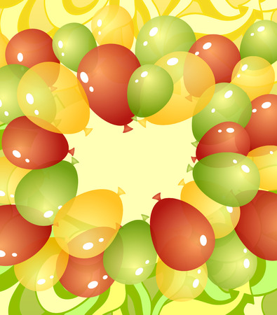 jaune rouge: Contexte de ballons et le dessin abstrait dans des couleurs rouge jaune vert ou invitation de mod�le ou des vacances de f�licitations tels que anniversaire ou un anniversaire ou ouverture des magasins Illustration