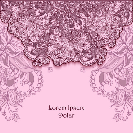 decorate: Template background with abstract doodle flowers lace in pink lilac colors or for decorate packet or for advertising different thing