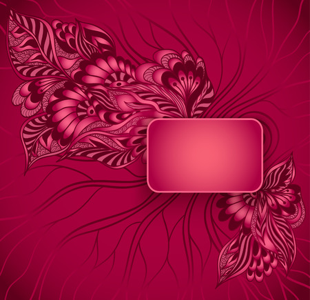 perfumer: Rectangular frame with doodle flowers in red colors for advertising perfumer cosmetic or for congratulation or invitation of holiday or for design of package or other things