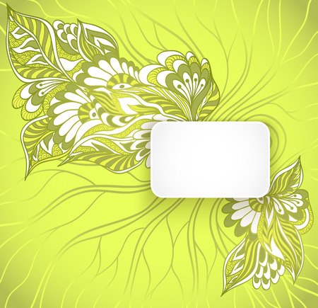 perfumer: Rectangular frame with doodle flowers in green colors for advertising perfumer cosmetic or for congratulation or invitation spring summer holiday or for design of package or other things