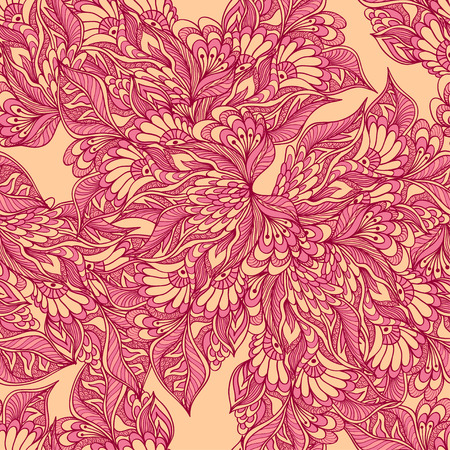 perfumer: Seamless pattern with doodle flowers in pink beige colors for decorated textile or clothes or other things