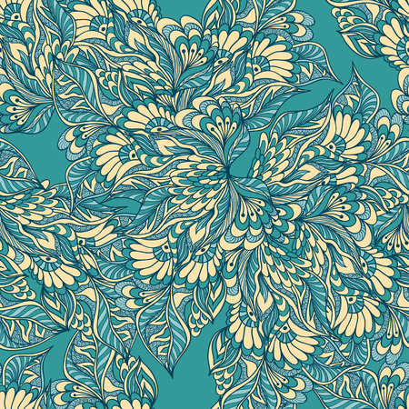 beige backgrounds: Seamless pattern with doodle flowers in blue beige colors for decorated textile or clothes or other things Illustration