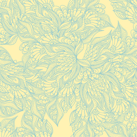 perfumer: Seamless pattern with doodle flowers in yellow light blue colors for decorated textile or clothes or other things