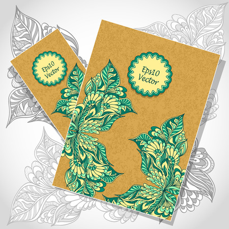 Template flyer and visit card with doodle flowers or floral on grunge paper in trend style