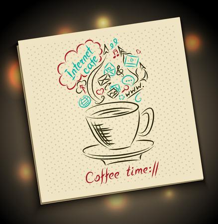 servilleta de papel: Hecho a mano Sketch Concepto del tiempo del caf� en la servilleta con la taza inscripci�n caf� Internet y s�mbolo utilizando Web