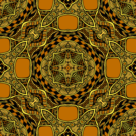 clothe: Seamless pattern from abstract ornament black orange colors in East or Arabic style for decorate clothe interior or for making computer game or for package or for playing card back