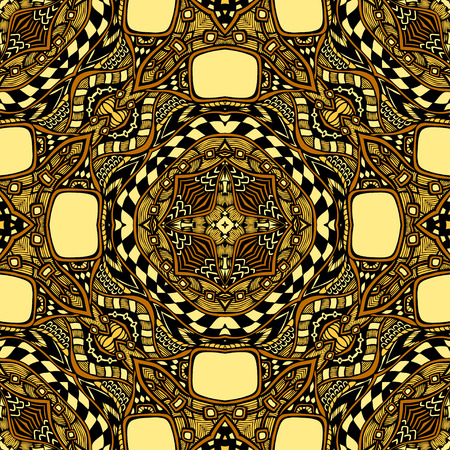 clothe: Seamless pattern from abstract ornament brown yellow colors in East or Arabic style for decorate clothe interior or for making computer game or for package or for playing card back