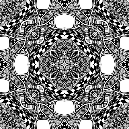 clothe: Seamless pattern from abstract ornament black white colors in East or Arabic style for decorate clothe interior or for making computer game or for package or for playing card back