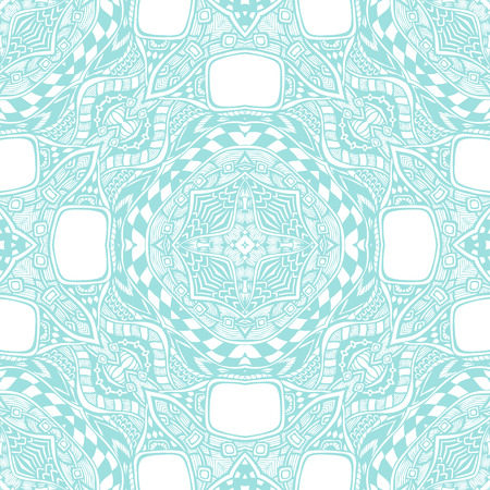 card making: Seamless pattern from abstract ornament light blue white colors in East or Arabic style for decorate clothe interior or for making computer game or for package or for playing card back Illustration