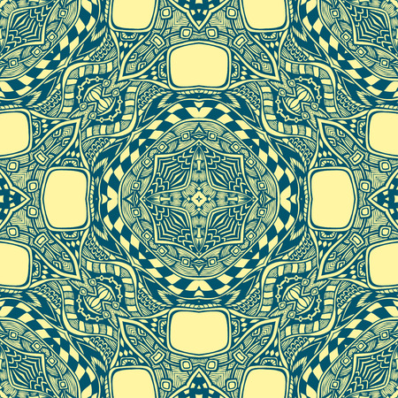 clothe: Seamless pattern from abstract ornament blue yellow colors in East or Arabic style for decorate clothe interior or for making computer game or for package or for playing card back