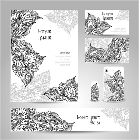 on decorate mobile telephone: Set Template with doodle flowers in white black colors for decoration flyer or banner or for visit card or brochure or for bumper of mobile telephone or for flash drive Illustration