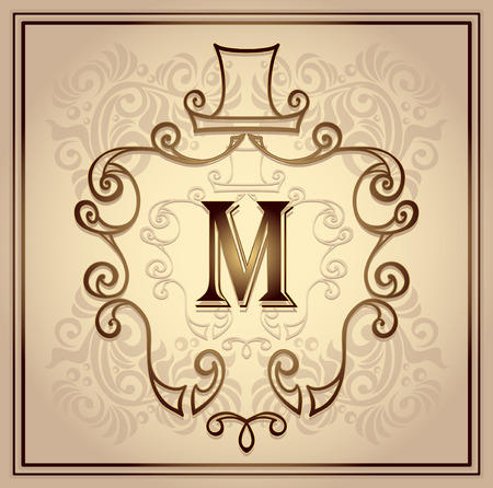 perfumer: Monogram frame or symbol or emblem with hat for men on beige background for design cosmetic or perfumer or clothes or for restroom