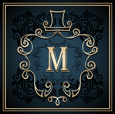 perfumer: Monogram frame or symbol or emblem with hat for men on black background for design cosmetic or perfumer or clothes or for restroom