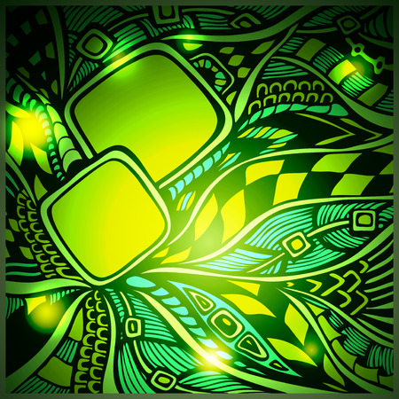 high technology: Abstract doodle background with light in green colors for advertising motion high technology