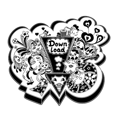 down load: Concept down load with arrow doodle monsters in white black for down load music, film, photo, pictures from web. Template banners down load