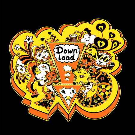down load: Concept down load with arrow doodle monsters in yellow orange for down load music, film, photo, pictures from web. Template banners down load Illustration