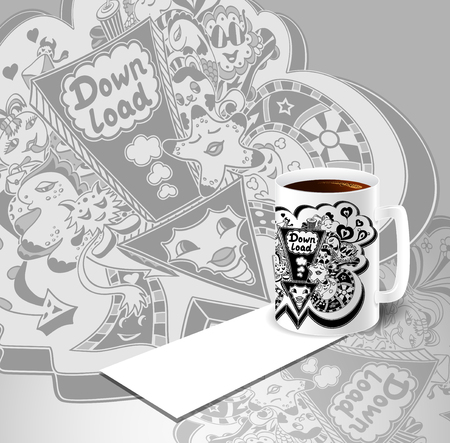 down load: Concept with cup of coffee visit card and picture of down load doodle monsters in white black for down load music, film, photo, pictures from web. Template banners down load Illustration