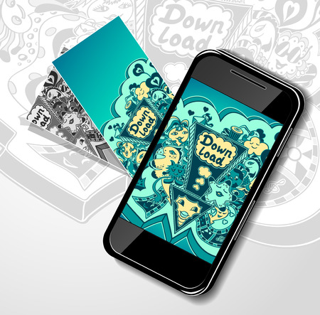 down load: Concept with mobile telephone visit cards and picture of down load doodle monsters for down load music, film, photo, pictures from web. Template banners down load Illustration