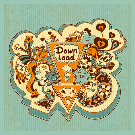 down load: Concept down load with arrow doodle monsters in yellow orange marine blue for down load music, film, photo, pictures from web. Template banners down load in retro style with grunge effect