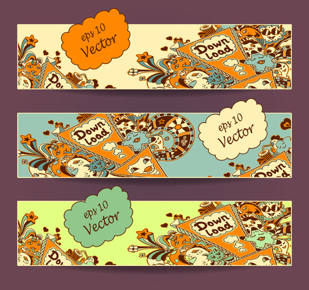 down load: Set horizontal banners. Template of Concept down load with arrow doodle monsters in yellow orange marine blue green for down load music, film, photo, pictures from web Illustration