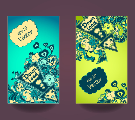 down load: Set vertical banners. Template of Concept down load with arrow doodle monsters in yellow marine blue green for down load music, film, photo, pictures from web