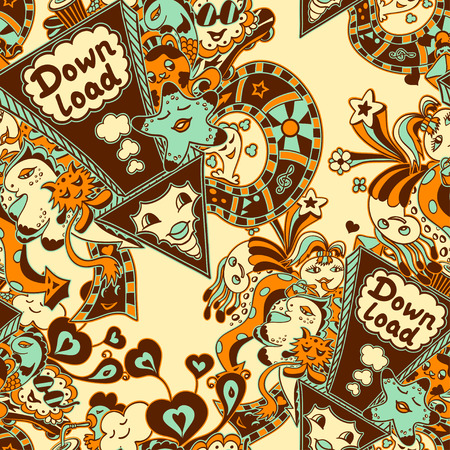 down load: Seamless pattern with arrow down load and doodle monsters in marine blue yellow brown for down load music, film, photo, pictures from web
