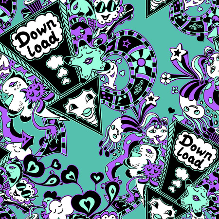 down load: Seamless pattern with arrow down load and doodle monsters in cyan lilac black white for down load music, film, photo, pictures from web