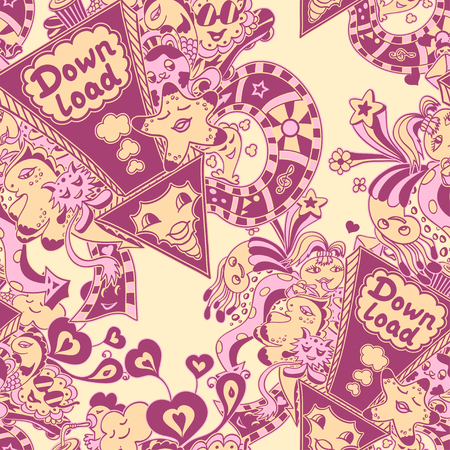 down load: Seamless pattern with arrow down load and doodle monsters in pink yellow lilac for down load music, film, photo, pictures from web Illustration
