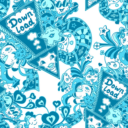 down load: Seamless pattern with arrow down load and doodle monsters in blue white cyan for down load music, film, photo, pictures from web