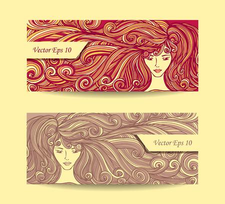 tinte de cabello: Establecer Banners o tarjetas de visita o tarjetas de descuento con la muchacha hermosa con el pelo largo y rizado en color beige rojo para barber�a o el pelo tinte o de sal�n de belleza de publicidad