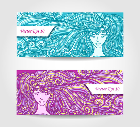 hair beauty: Set Banners or visit cards or discount cards with Beautiful Girl with long curly hair in cyan lilac for barbershop or hair dye or for advertising beauty salon
